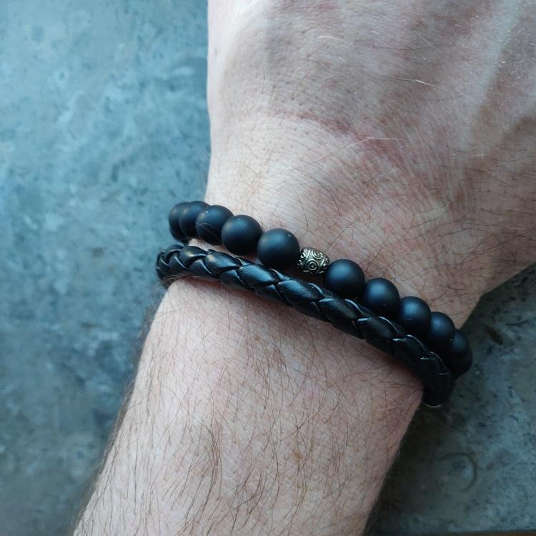Armband - gråsvarta matta agater
