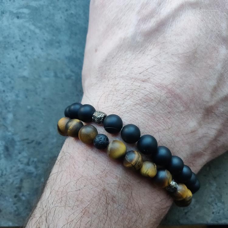 Armband - tigeröga och lava