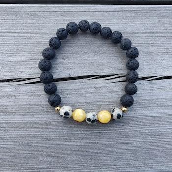 Armband - svart, gult och dalmatin