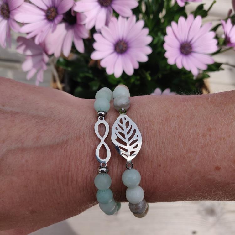 Armband - frostade stenpärlor pistage