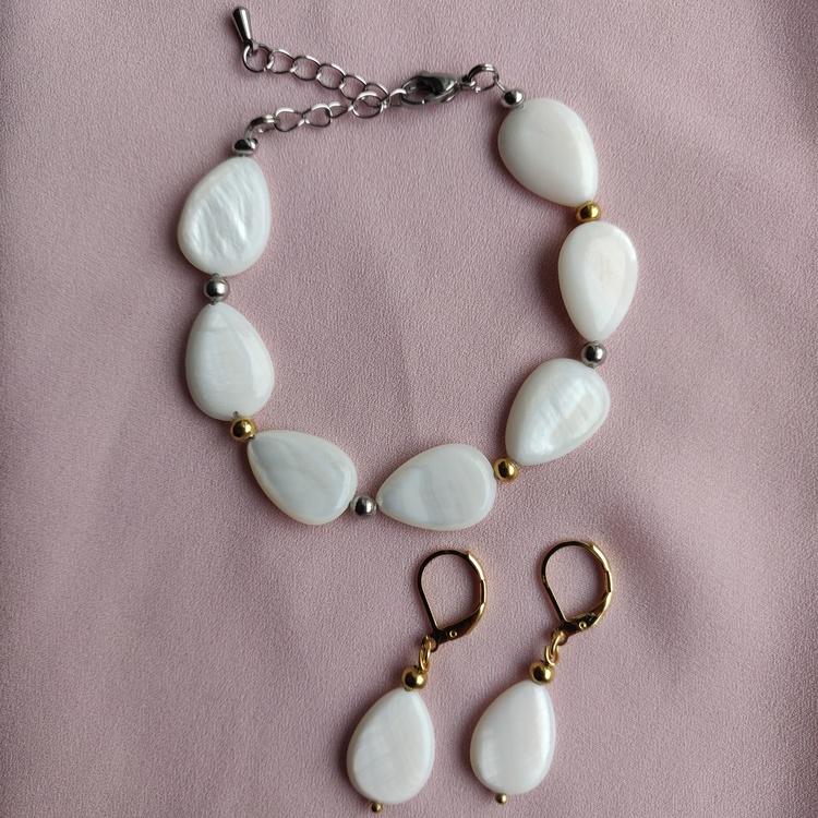 Set - armband örhängen, allt i rostfritt stål, välj örhängen i silver eller guld