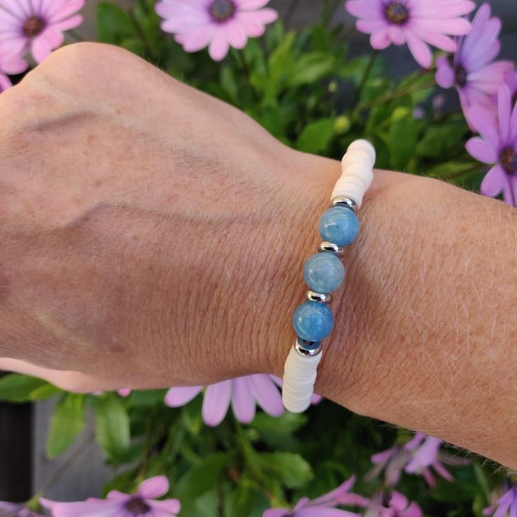 Armband - heishi och akvamarin
