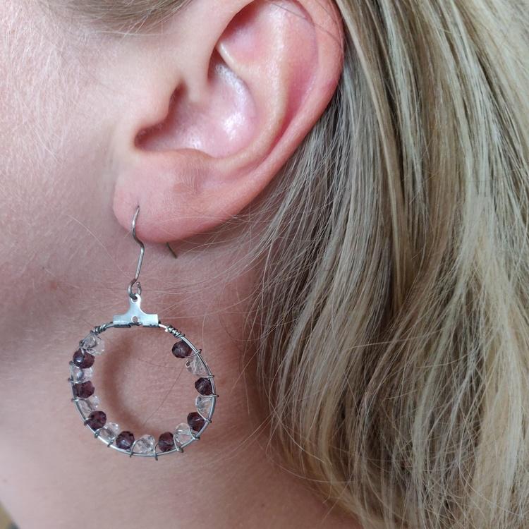 Örhängen - örkrokar med creoler i rostfritt stål