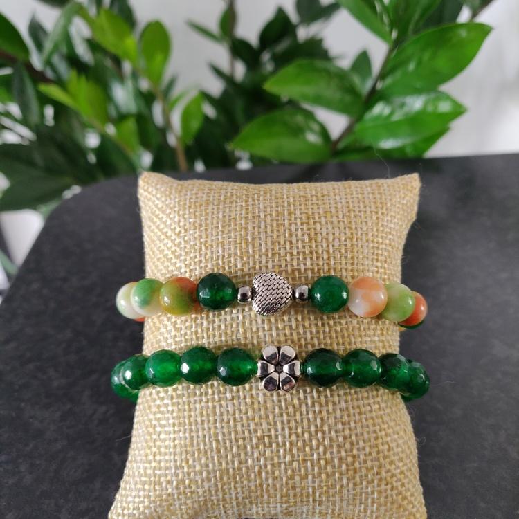 Armband - stenpärlor höstlöv