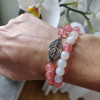Armband - körsbärskvarts, agater