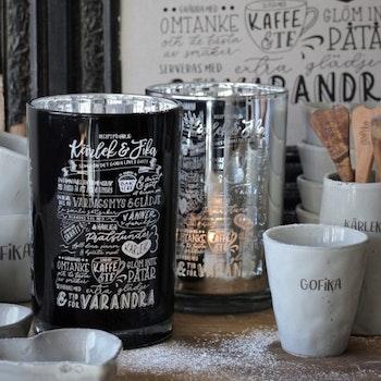Majas Kärlek & fika recept, lykta silver