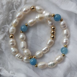 Armband - sötvattenspärlor och akvamarin