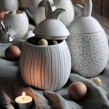 Majas Rabbit Jar Randig Vit Stor