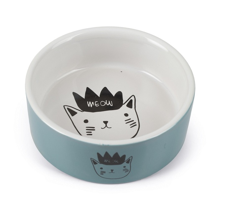 * Keramikskål turkos/vit med kattmotiv *