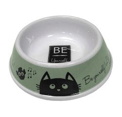 Plastskål, rund med Kattmotiv