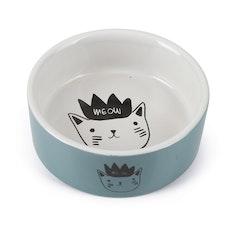 Keramikskål turkos/vit med kattmotiv