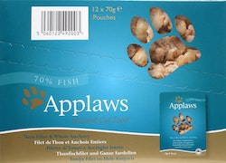 Applaws Pouch, Tuna Fillet & whole Anchovy, 12 x 70 gr.
