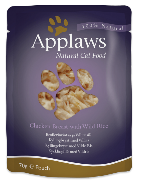 Applaws Pouch, Chicken Breast with Wild Rice, 12 x 70 gr.