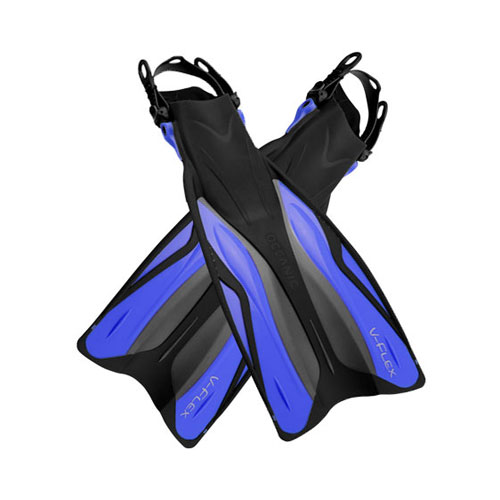Snorkelfena i plast med hälrem - Oceanic V-Flex