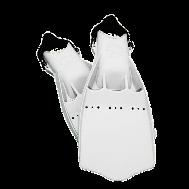 Dykfena i gummi med hälrem för torrdräktsdykning - Divesystem tech fin vit