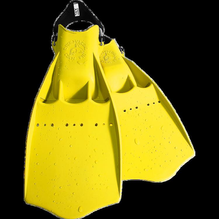 Dykfena i gummi med hälrem för torrdräktsdykning - Divesystem tech fin gul