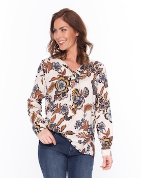 New Odd Things Blus - Quala LS Beige Flowers Lurex