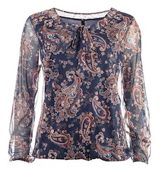 New Odd Things Blus - Dina Double LS Marine Floral Paisley Mesh