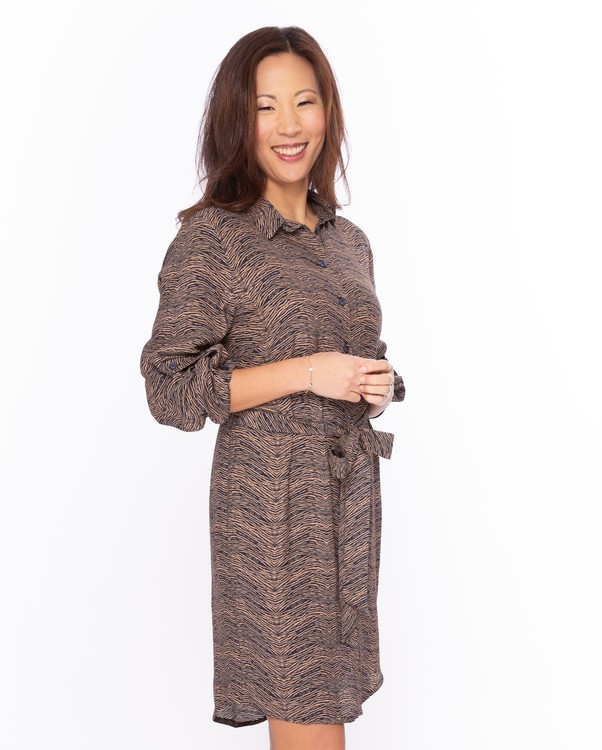 NOT Skjortklänning - Leonie LS Camel Tiger Stripes