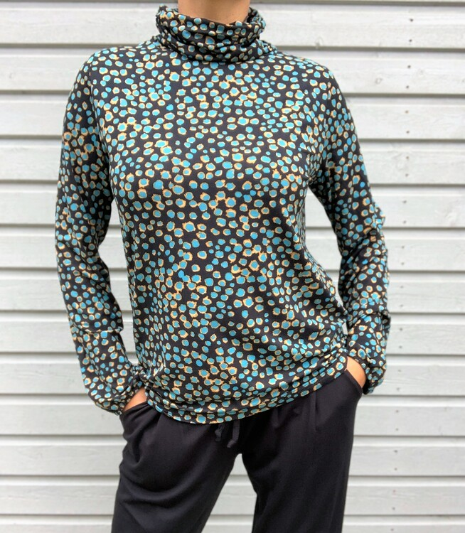 NOT Polo - Camile LS Indian Teal Fudge Dot
