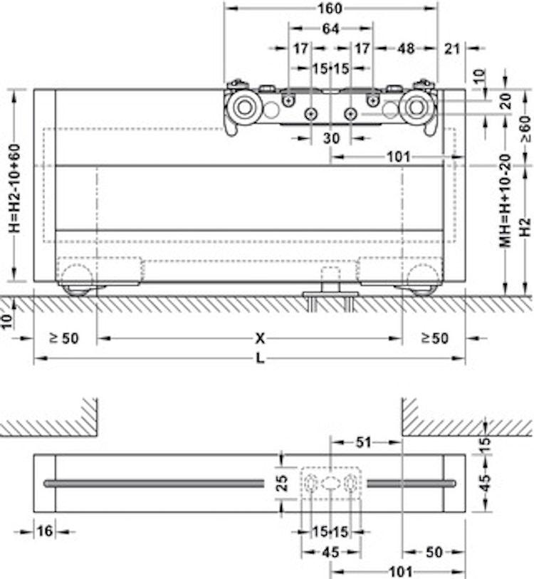 Skjutdörrs-beslag - 1500 mm, silver eloxiderad
