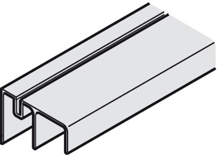 Dubbel bottenskena till garderobsbeslag - 3500 mm
