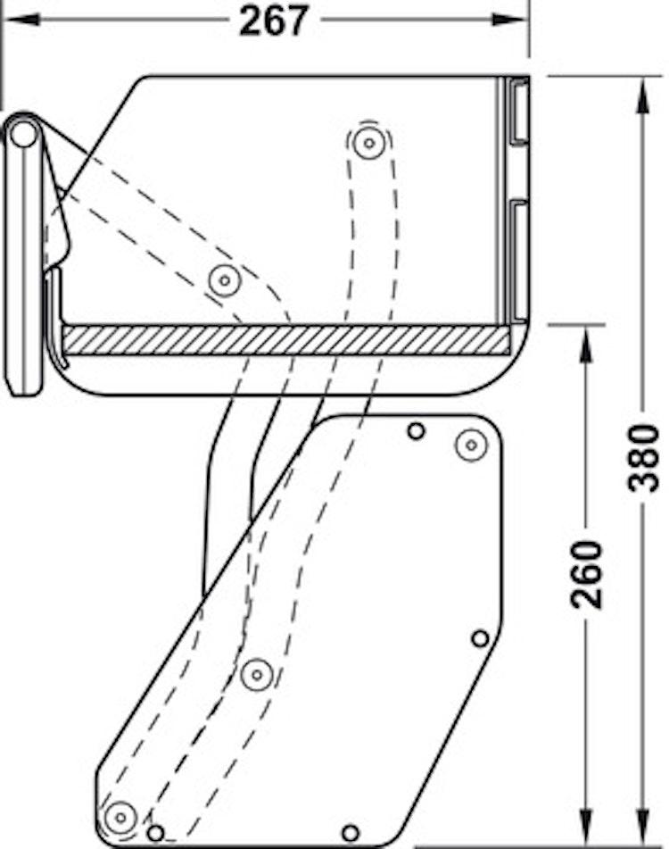 Innerskåpslyft, enkel, 600 mm