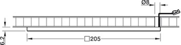 Kvadratisk belysning, 205 mm