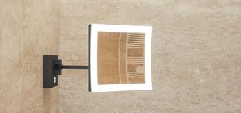 Sminkspegel, 5 ggr förstoring, med ljus, krom