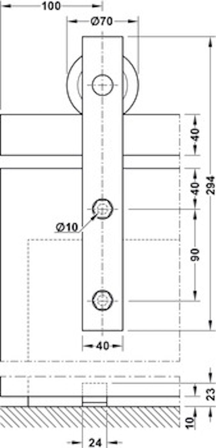Skjutdörrs-beslag - 2 meters skena