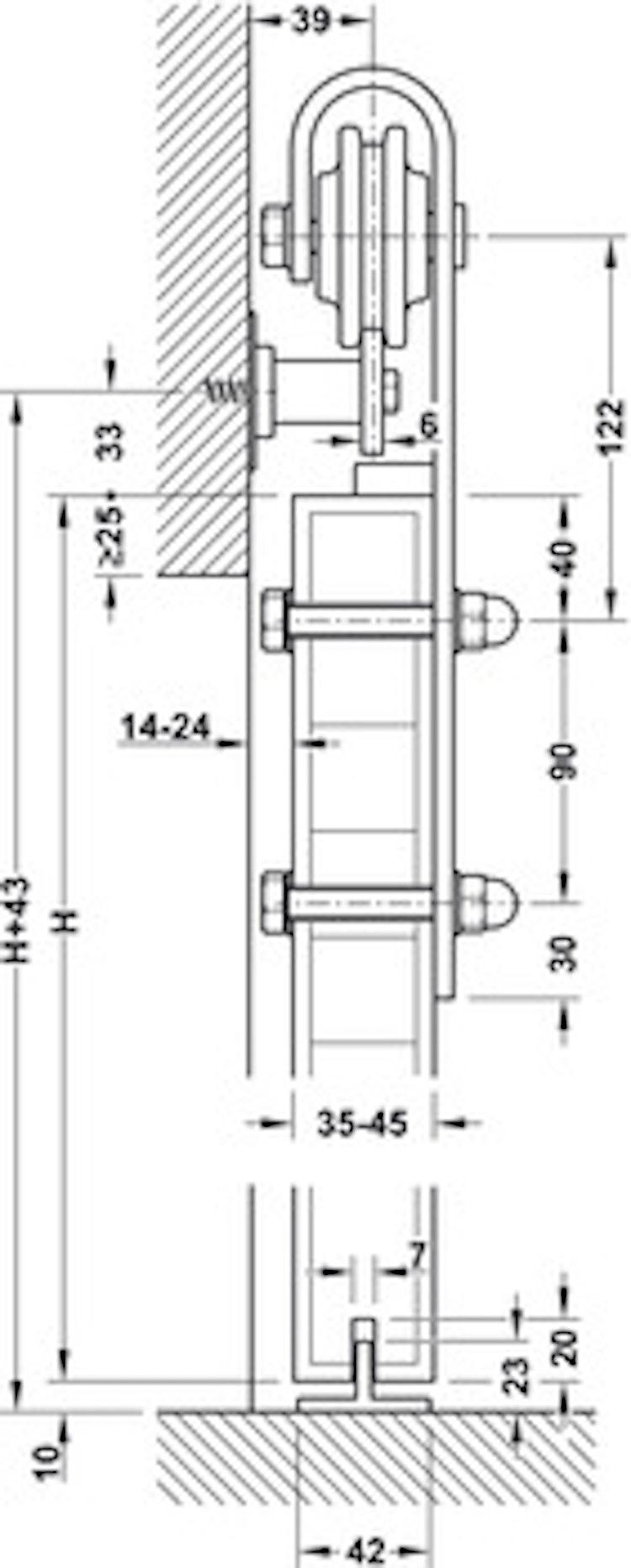 Skjutdörrs-beslag - 2,5 meters skena