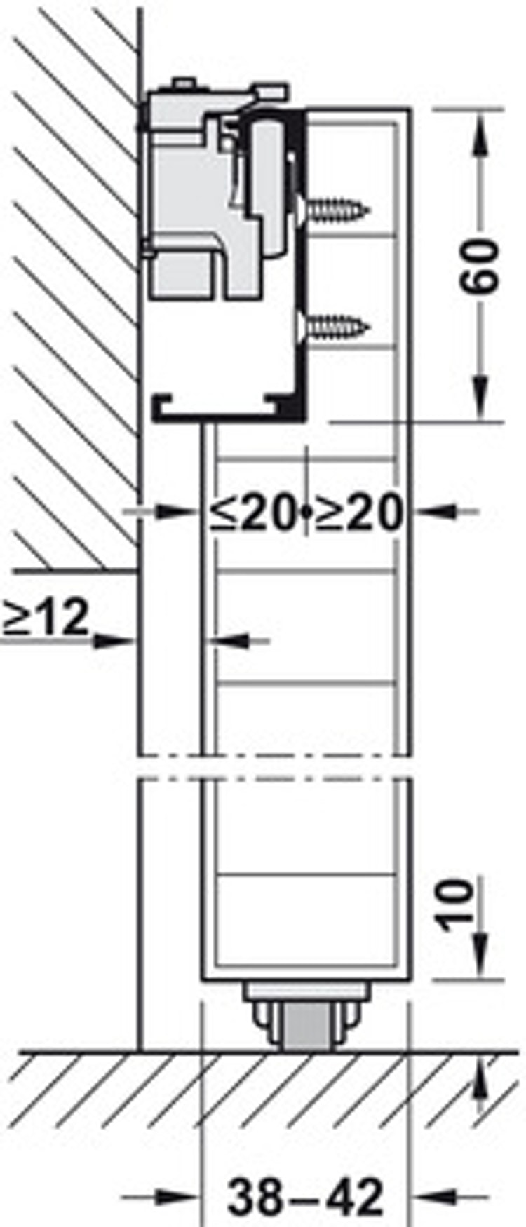 Skjutdörrs-beslag - 1100 mm