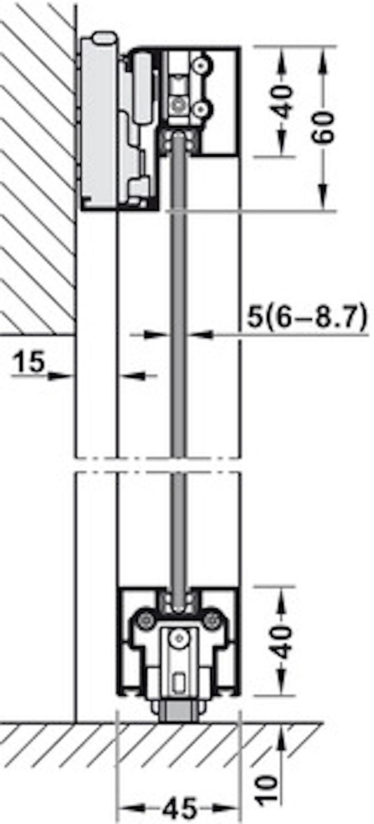 Skjutdörrs-beslag - 1100 mm, silver eloxiderad