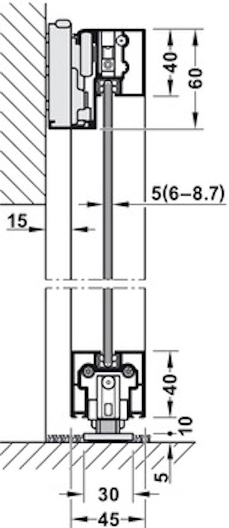 Skjutdörrs-beslag - 1100 mm, svart
