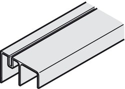 Dubbel bottenskenskena till garderobsbeslag - 2500 mm