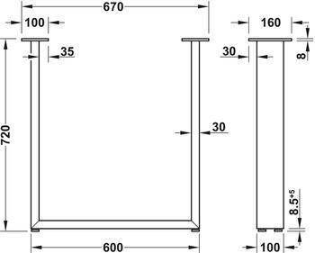 Bordsben - Design U, raw steel eller svart