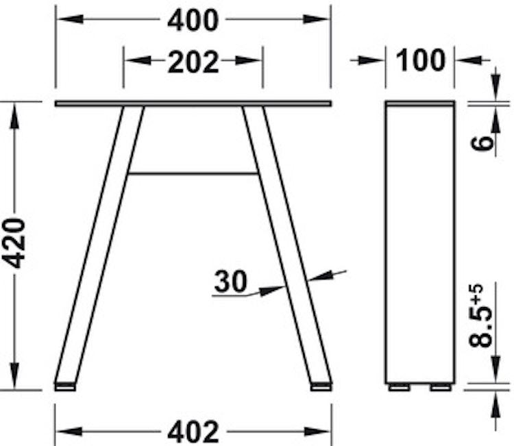 Ben till bänk - Design A, raw steel eller svart