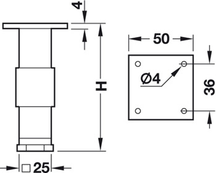 Möbelfot - olika höjder