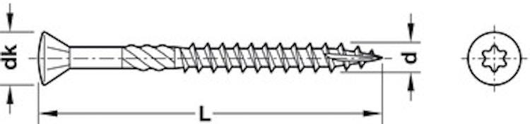 Trallskruv de luxe, 5 x 50 mm - paket om 200 st