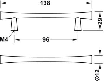 Modell B444 - finns i krom, svart och guld, cc 96 mm
