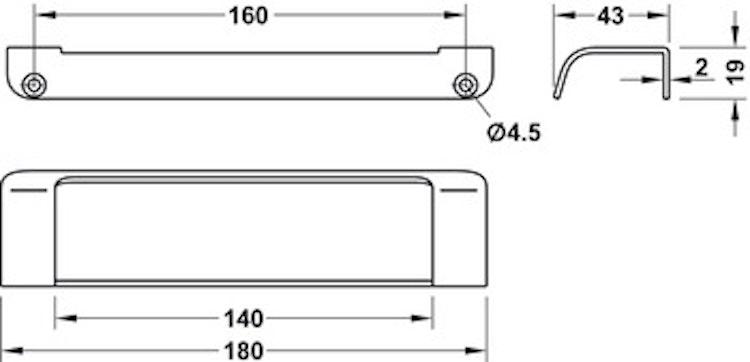Modell P454 - finns i krom och rostfritt, cc 160 mm