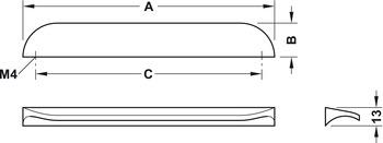 Modell B1163 - finns i krom, borstad nickel, borstad koppar och borstad mässing, cc 160 mm