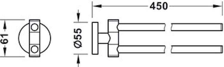 Handduksstång, dubbel  - Round Line