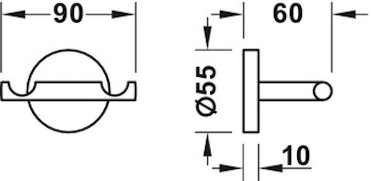 Handdukshängare/krok, dubbel  - Round Line