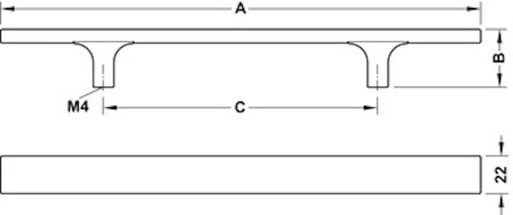 Modell H1555 - finns i rostfritt, cc 192, 320 och 448 mm