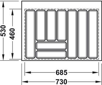 Besticksinsats, finns för lådor 500 - 900 mm i vit och anthracite
