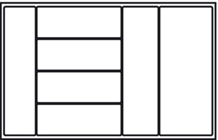 """Besticksinsats """"Universal"""", finns till lådor 300 - 1000 mm i vit, silver och svart"""