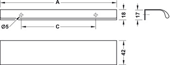 Modell P012 - finns i borstad metall och borstad svart, cc 128, 256 och 1056 mm