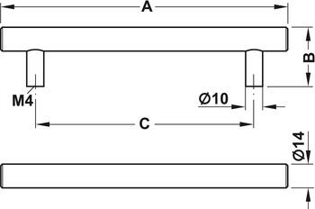Modell H1100 - rostfritt, cc 160 - 860 mm (Finns i mycket långa längder)