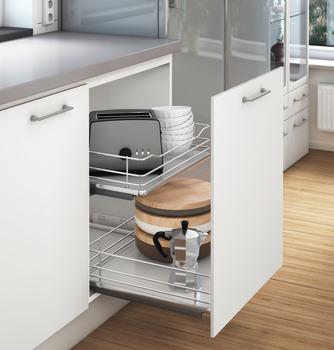 Häfele - Innerutdrag till underskåp med wire-botten för placering bakom dörr eller lådfront - Ej för fäste i lådfronten